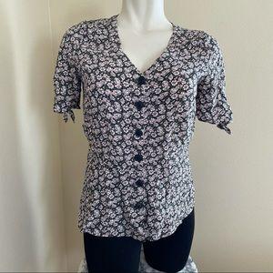 NWT loft floral button front peplum blouse sz.12P